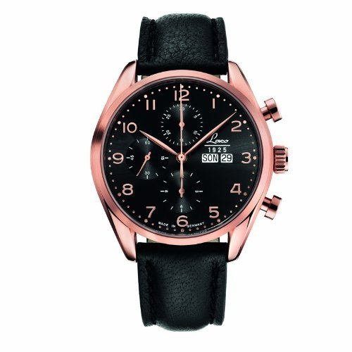 Laco 1925 Men's Automatic Watch with Black Dial Analogue Display and Black Leather Strap 861870