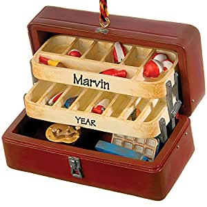 Tackle box fishing ornament personalized gift for Amazon fishing gear