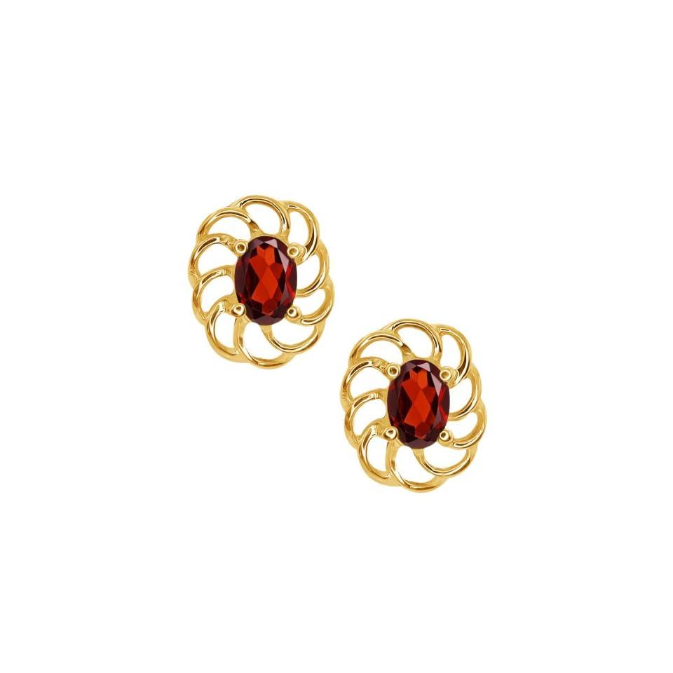 1.10 Ct Oval Red Garnet 10k Yellow Gold Earrings Jewelry