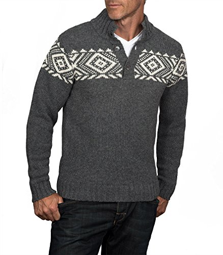 Wool Overs Men's Lambswool Norwegian Button Neck Sweater Mid Grey Marl/Cream Medium (Wool Overs British Wool compare prices)