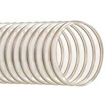 "Hi-Tech Duravent Thermoplastic Polyurethane Static Dissipative Duct Hose, Clear, 5"" ID, 5.2900"" OD, 25' Length"