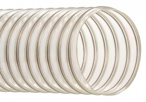 """Hi-Tech Duravent Thermoplastic Polyurethane Static Dissipative Duct Hose, Clear, 4"""" Id, 4.2900"""" Od, 50' Length front-588853"""