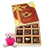 Nicely Decorated Gift Box Of Delightful Chocolates With Teddy - Chocholik Luxury Chocolates