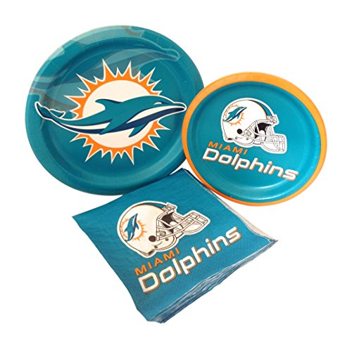 Miami Dolphins Football Party Supply Pack! Bundle Includes Paper Plates & Napkins for 8 Guests