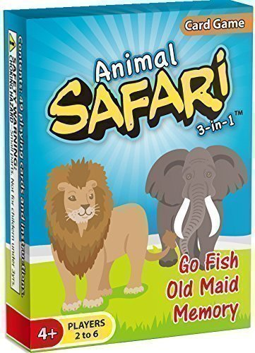 Animal Safari 3-in-1: GO FISH, Old Maid, Memory [HOT NEW RELEASE]