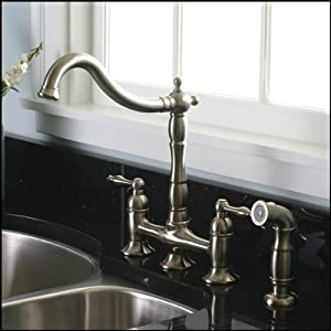 Brushed Nickel Kitchen Faucet With Matching Sprayer