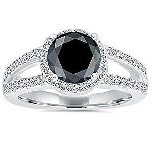 2.00CT Halo Split Shank Diamond Ring 14K White Gold