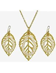 Golden Metal Chain With Leaf Pendant And Earrings - Metal
