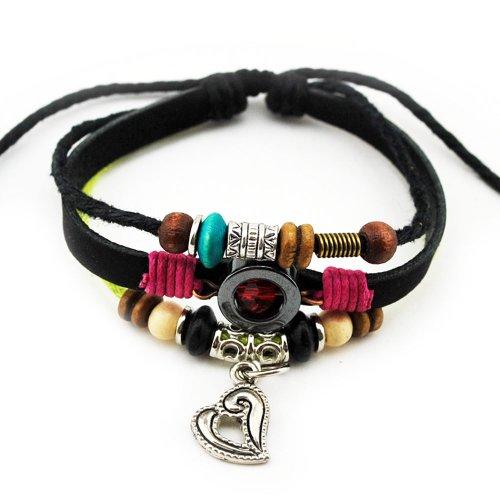 Wild Wind Unique Metal Pendant Ring & Bead Multistrand Leather Adjustable Wrap Bracelet (Heart)