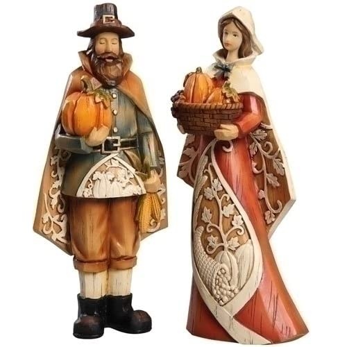 Set of 2 Autumn Harvest Man and Woman Pilgrim Carved Fall Thanksgiving Figures 9