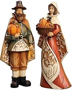 #!Cheap Set of 2 Harvest Man and Woman Pilgrim Carved Thanksgiving Figures