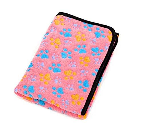 "Polar Fleece Soft Dog Cat Blanket Mat Paw Print Color Pink (40X30"" (L)) front-1081477"