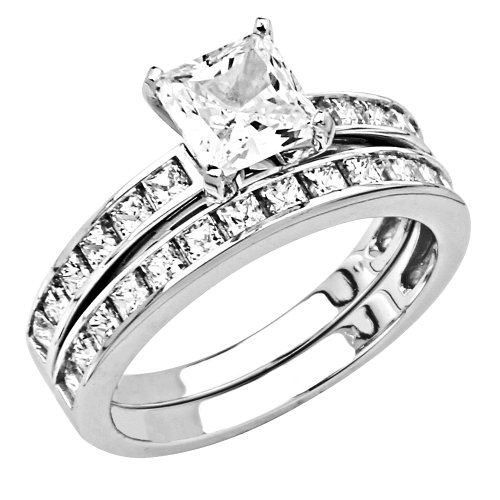 14K White Gold 1.25 CT Center Princess-cut CZ Cubic Zirconia Ladies Engagement Ring and Wedding Band 2 Two Pieces Set - Size 8.5