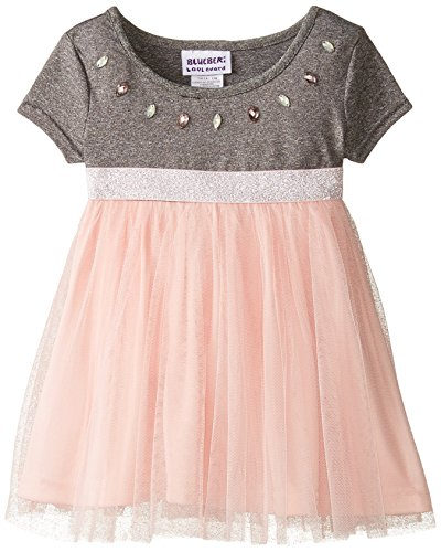 Blueberi Boulevard Baby Girls' Short Sleeve Jewel Neck Knit Mesh Dress, Grey, 18 Months