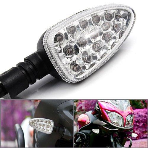 2X Custom Clear Lens Black Arrow Stalk 15 Amber Led Turn Signal Light Blinker Indicator Side Marker For Bmw R1200Gs K1200R F800S R1200 Gs
