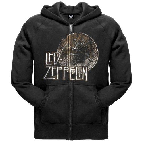 Led Zeppelin - Mens Circle Swan Zip Hoodie 2X-Large Black