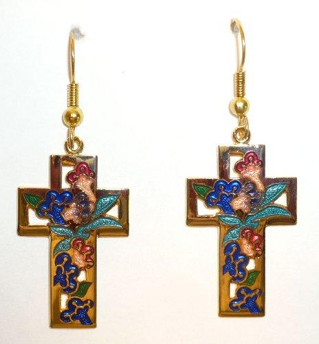 Large Blue Cloisonne Cross Pierced Earring