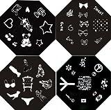 Nail Art Polish Stamp Stamping Manicure Image Plates Set Kit 4 Pc /Vi/