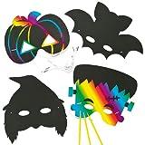 Halloween Scratch Art Masks for Children (Pack of 6)