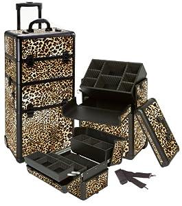 Seya 2 in 1 Pro Rolling Makeup Cosmetic Train Case w/ Adjustable Dividers (Leopard)