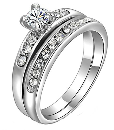 White Gold Plated Ring, Round Brilliant Cut Cubic Zirconia CZ Engagement Ring Set For Women Size 8