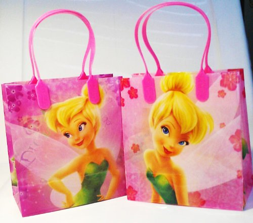 Disney Tinkerbell Small Plastic Goodie Gift Favor Treat Tote Bags (12ct)