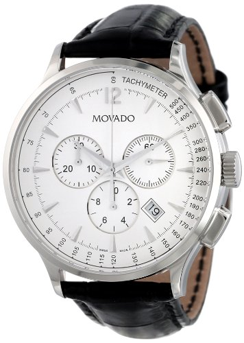 "Movado Men's 0606575 ""Circa"" Stainless Steel Watch with Leather Band"