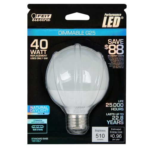 Feit Electric 40w Equivalent Daylight G25 Dimmable Clear: Feit G25DM5KLEDG2 40W Equivalent LED Dimmable G25 Globe