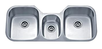 Wells Sinkware SSU4621-979-1 18-Gauge Undermount Triple-Bowl Kitchen Sink Package, Stainless Steel