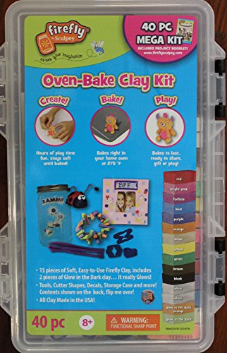 Firefly by Sculpey - 40 Pc Mega Oven-Bake Clay Kit includes Project Booklet (Sculpey Oven Bake Clay Kit compare prices)