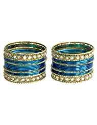 Two Sets Of Stone Studded Blue With Golden Bangles - Metal