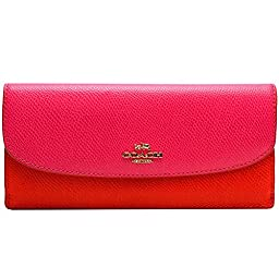 Coach Crossgrain Leather Soft Envelope Wallet 52845 Cardinal Pink Ruby