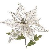 RAZ Imports - Cream Colored Poinsettia With Silver Accents 23