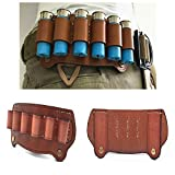 FIRECLUB Tactical Cowhide Leather Hunting Rifle Magazine Pouch 6 Shots 12 Gauge Ammo Bag Shotgun Shell Holder Cartridge Belt