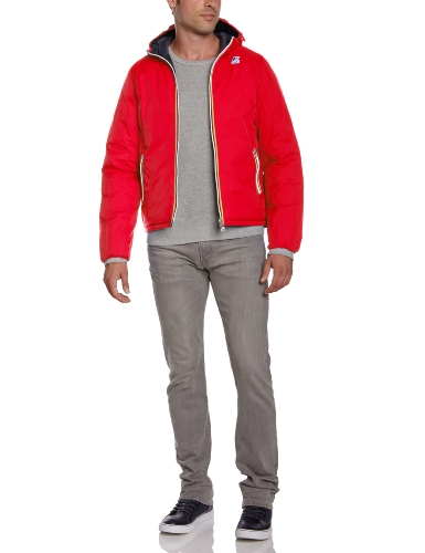 K-Way - Jacques, Piumino a manica lunga Uomo, Red-Depht Blue, Medium