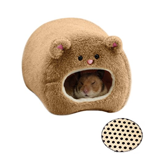 Rats Hamster Winter Warm Fleece Hanging Cage Hammock House Cute Bear Desige with Bed Mat, for Small Furry Animals