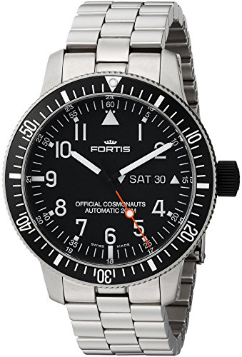 Fortis-Mens-6472711-M-B-42-Official-Cosmonauts-DayDate-Titanium-Analog-Display-Automatic-Self-Wind-Silver-Watch