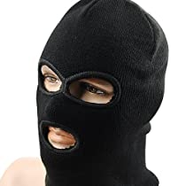 1x Lightweight Black Balaclava Three Hole Neck Full Face Mask Ski Warmer Windproof
