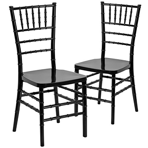 2 Pk. HERCULES PREMIUM Series Black Resin Stacking Chiavari Chair (Resin Outdoor Stacking Chairs compare prices)