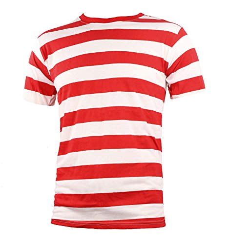 Adult Men's Short Sleeve Striped Shirt Red White (Large)