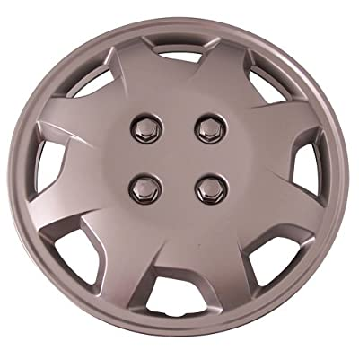 Set of 4 Silver 13 Inch Aftermarket Replacement Hubcaps with Metal Clip Retention System - Part Number: IWC124/13S