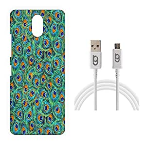 Designer Hard Back Case for Lenovo VIBE P1m with 1.5m Micro USB Cable