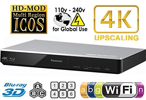PANASONIC DMP-BDT270 2K/4K Multi Region All System Blu Ray Disc DVD Player - PAL/NTSC - 2D/3D - Wi-Fi - 100~240V 50/60Hz World-Wide Use & 6 Feet HDMI Cable (Panasonic 3d Dvd Player compare prices)