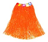 Elastic Dance Grass Skirt Adult Hawaiian Hula Grass Dance Shirt w/Floral Waistband (Orange)