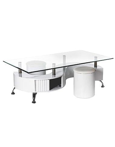 Tavolo da caffè con due Puffs. (130x 70x 43cm