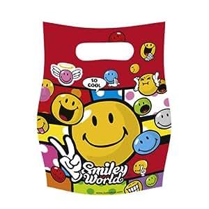 Kit de Fête anniversaire SMILEY COMIC : 6 invitations, 6 sacs et 72 cadeaux pour les invités
