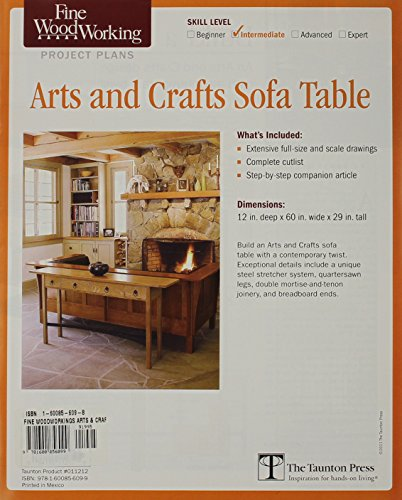Fine woodworking 39 s arts and crafts sofa table plan fine for Arts and crafts sofa table