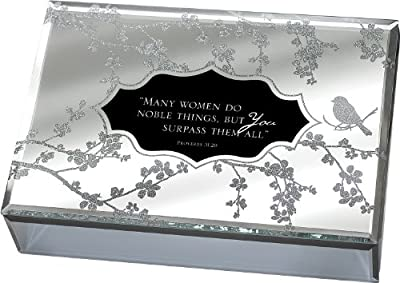 Many Women Do Noble Things Proverbs 31:29-30 Large Deluxe Glass Mirror Jewelry Music Box - Plays Song How Great Thou Art