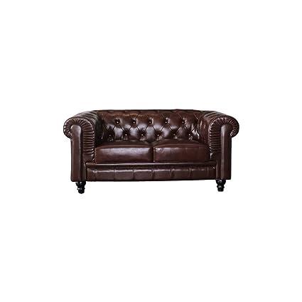 Sofa Chester 2 plazas piel - MSD152423655 - Marrón