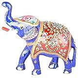 Rajgharana Handicrafts Multi Color Metal Meenakari Delightful Elephant - (11 Cm X 15 Cm)